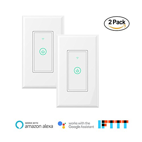 meross Smart Wi-Fi Wall Light Switch, Amazon Alexa and Google Assistant Supported, Remote Control, Timing Function, Fit for US/CA Wall Switches, No Hub Needed, White (2 Pack)