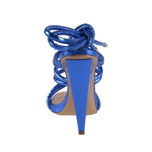 Dsquared Womens Blue Wrap Around Sandali Con Cinturino Alla Caviglia Blu