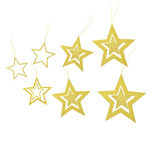 (Lacheln Twinkle Twinkle Little Star Hanging Decorations for Baby Shower Birthday Christmas Xmas Party (Glitter Golden 14 Pcs))