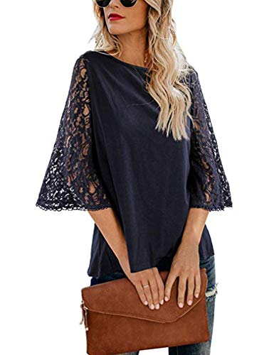 Tobrief Womens Lace Crochet Ruffle Half Sleeve Party Chiffon Tunic Tops Shirt Blouses Navy Blue, XL