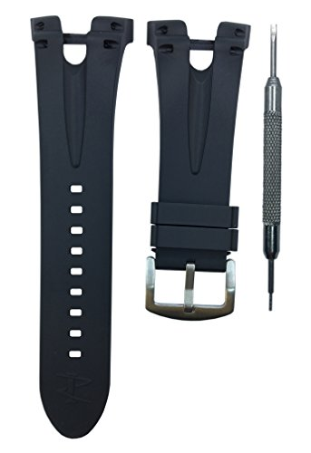 36mm Black Rubber Watch Band Replacement Strap for Invicta Reserve Venom II | Free Spring Bar - 1520 Replacement