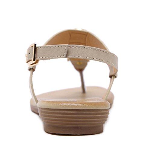 Btrada Sandals For Women-Summer Flats-Clip Toe Flip Flops-Comfortable Anti-Slip Apricot nIeHxt