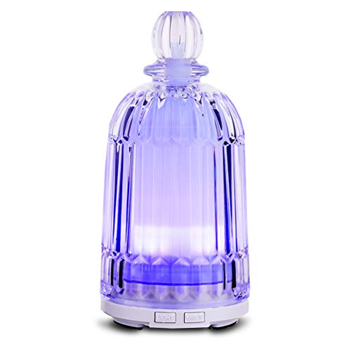 Essential Oil Diffuser, 120ml Glass Diffuser Waterless Auto Shut-Off Ultrasonic Aromatherapy Oil Diffuser Cool Mist…