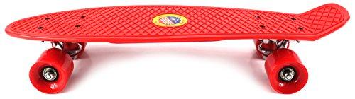 "Classic Cruiser Complete 22"" Banana Skateboard w/ Metal Trucks, ABEC-7 Bearings, High Quality Wheels & Bushings (Red)"