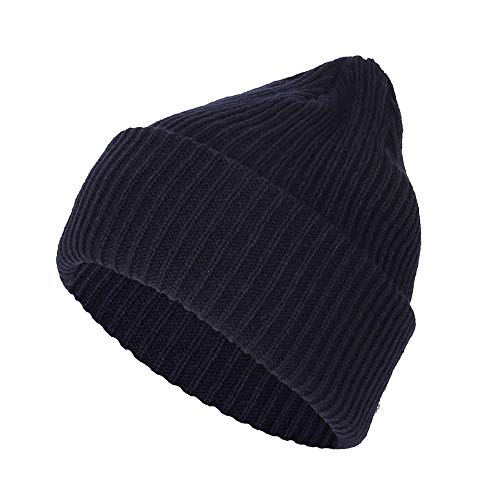WITHMOONS Knitted Ribbed Beanie Hat Basic Plain Solid Watch Cap AC5846 (LooseType_Navy)