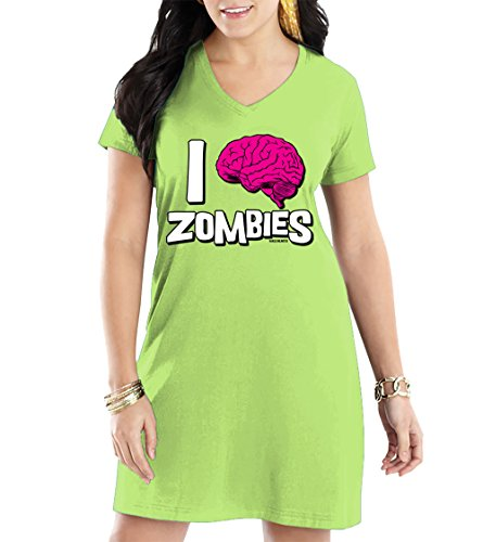 Women's I Love Zombies V-Neck Nightshirt (Light Green, (Thriller Light Show Halloween)