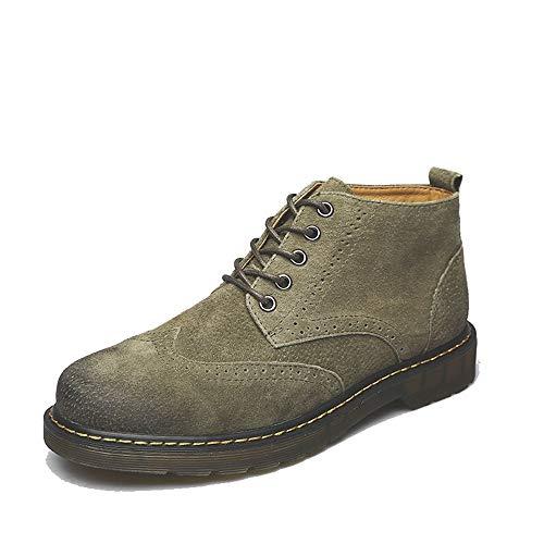 4209d17a12de Hilotu Men's Fashion Ankle Boots Casual Retro Comfortable and Wearable  Boots Brogue Shoes (Warm Velvet Optional) (Color : Green, Size : 6.5 D(M)  US)
