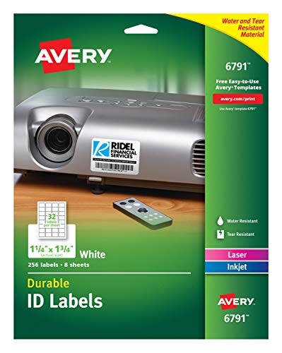 Avery Durable ID Labels, Permanent Adhesive, 1-1/4