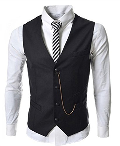 Chain Casual - Lanbaosi Men's Formal 4 Button Pocket Design Casual Chain V-neck Vest Coat Black Size XXL Chest 42