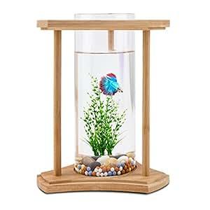 Amazon Com Segarty Desktop Fish Tank Bamboo Unique Design Small Fish Bowls With Glass Vase