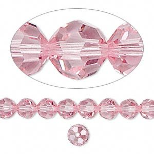 Swarovski Crystal 5000 6mm Light Rose Faceted Round Beads - 12 Pack