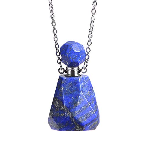 iSTONE Natural Gemstone Lapis Lazuli Perfume Bottle Aromatherapy Essential Oil Diffuser Necklace,Perfume and Mosquito Repellent Necklace