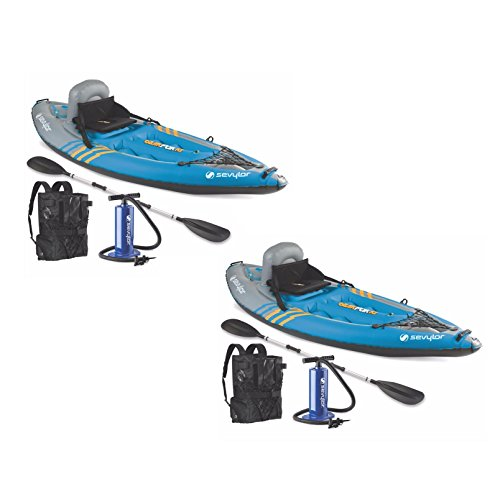 ((2) SEVYLOR QuikPak K1 One Person Inflatable Coverless Kayaks w/ Paddle & Pump)