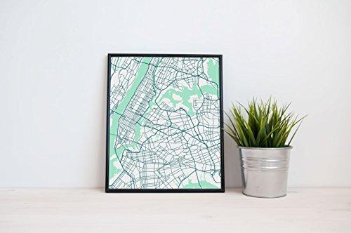 New York City Street Map Art Print - aerial view NYC]()