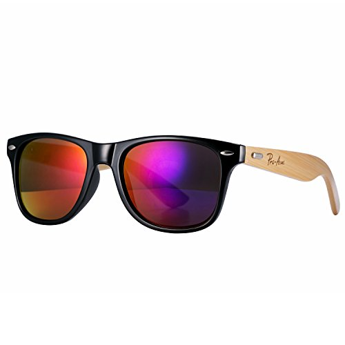 Pro Acme Classic Wayfarer Bamboo Sunglasses Wood Arms Clear Lens Glasses (Purple Mirrored - Purple Wayfarer Sunglasses