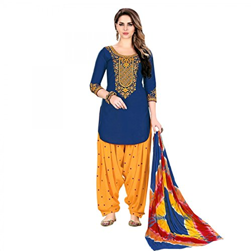 Delisa Ready Made Patiala Salwar Embroidered Cotton Salwar Kameez Suit India/Pakistani Dress (Blue, (Blue Cotton Salwar Kameez)