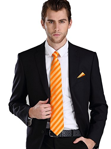 Landisun Mens Silk Neck Tie Set Stripe Pattern 18A94 Orange (Pattern Mens Necktie)