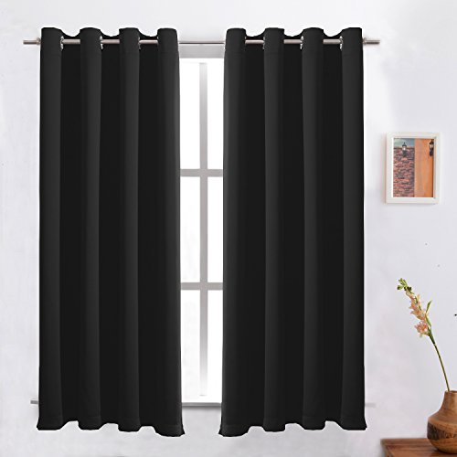 Black Blackout Curtains Thermal Insulated/ Room Darkening/Light Blockingt for Bedroom/Living Room/Dining Room With Solid Grommet Window Treatment Draperies 2 Panels 52x63 Inch By FLOWEROOM
