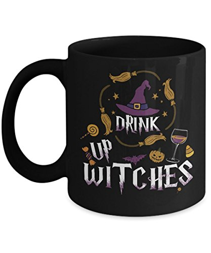 Halloween Mugs, Drink Up Witches 11 oz - 15 oz Ceramic Coffee mugs, Tea cups - Funny Gift for daughter, son, wife, husband, mother, father, grandpa on Halloween day, October 31 - Father And Daughter Costume Ideas