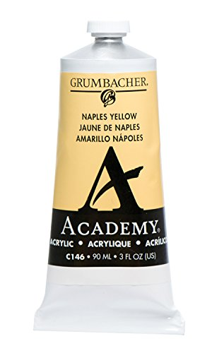 Grumbacher Academy Acrylic Paint, 90ml/3 oz Metal Tube, Naples Yellow (Metal Naples)