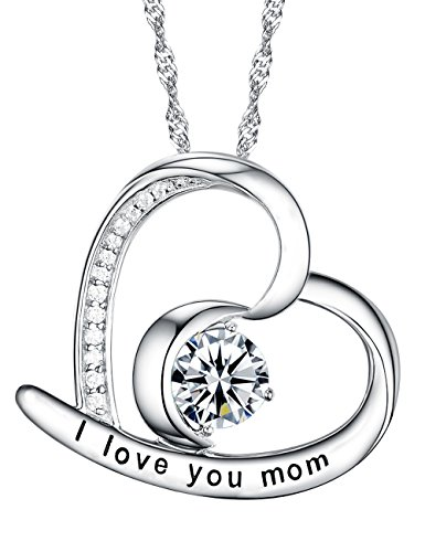 I Love You Mom Heart and Moon Pendant Necklace Gifts for Women Diamond Moon Sun and Heart Pendant Jewelry Birthday Gift for Mom from Son of Daughter Sterling Silver Swarovski, 18