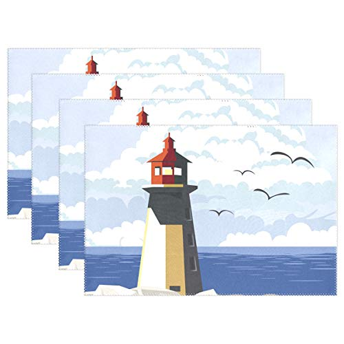 - Lighthouse with Sea View Placemats for kitchen Set of 6 Table Mat Home Plate Mat Heat Resistant Washable, 12x18 inches