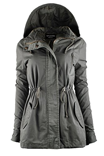 TL Women's Militray Anorak Parka Hoodie jackets with Drawstring OLIVE MEDIUM