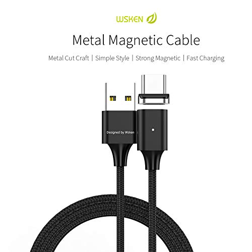 Wsken USB C Cable Magnetic Fast Charging 3ft Charge Cord Android Charger for Samsung Galaxy S10 S9 S8 Note 9, Pixel, LG V30 G6, OnePlus 5 3T, MacBook, Nintendo Switch, Gopro (Black X2 Model)
