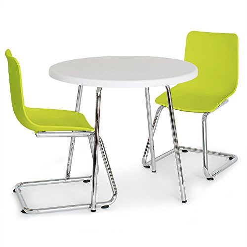 Pkolino Green Desk - P'Kolino Round Table for Kids and Chairs, White/Green