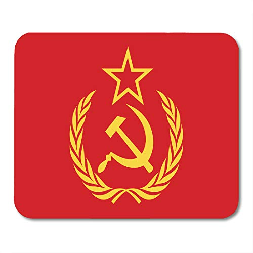 Emvency Mouse Pads Red Russian CCCP Symbol Hammer Sickle Star and Wreath Yellow Flag Soviet Mousepad 9.5