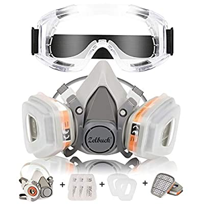 Respirator Mask Zelbuck Half Facepiece Gas Mask with Safety Glasses Reusable Professional Breathing Protection Against Dust, Organic Vapors, Pollen and Chemicals - Perfect for Painter and DIY Projects from Zelbuck