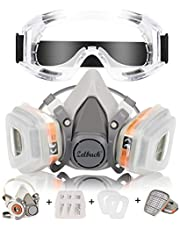 Masque a Gaz Zelbuck 107 Masque Respiratoire Réutilisable Masque Protection Respiratoire avec des Lunettes de Sécurité - Filtres Intégrés Pour une Protection Contre Gaz/Vapeurs et Particules