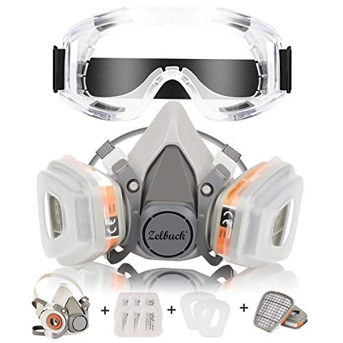 Respirator Mask Zelbuck Half Facepiece Gas Mask with Safety Glasses
