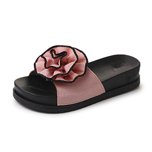 Dolwins Sandals Slippers, Women Flower Summer Sandals Slipper Indoor Outdoor Flip-Flops Beach Shoes(Pink-39/8.5 B(M) US ()
