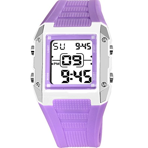Candy Alarm Chronograph Watch - Children watch waterproof night light alarm clock electronic table candy color-E