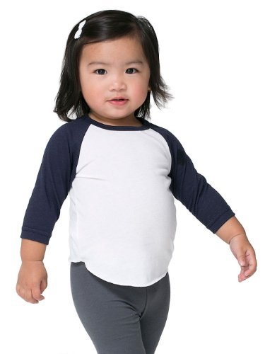 American Apparel Infant Poly-Cotton 3/4 Sleeve Raglan - White/Black / 12-18M