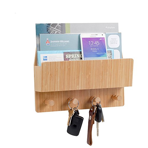 Bamboo Key - MobileVision Bamboo Mail & Letter Wall Mount Organizer with Key Hooks for Entryways, Hallways, Offices, Kitchens and More