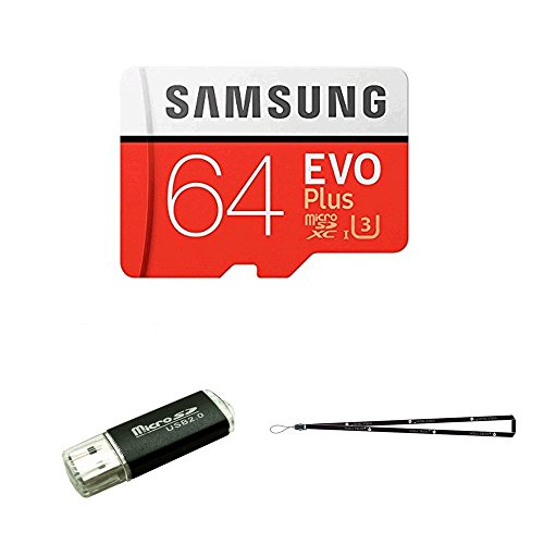 64GB Samsung Evo Plus Micro SD XC Class 10 UHS-1 64G Memory Card for Samsung Galaxy S8, S8+, Note 8, S7 Edge, S5 Active, S4, S3, Cell Phones with TF/SD USB Card reader Wisla TM LANYARD (MB-MC64DA/AM)