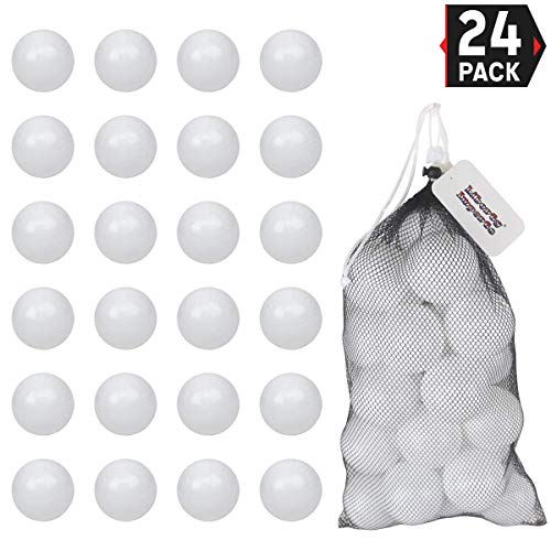 Liberty Imports Pack of 24 Plastic Practice Baseballs with Durable Mesh Bag | 2 Dozen Replacement Toy Balls for T-Ball, Softball and Baseball Training (2.5 Inches)
