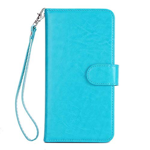 (Huawei P10 Lite Case, Bear Village Premium PU Leather Stand Wallet Case 9 Card Slots Cover with Magnetic Clasp and Wrist Strap for Huawei P10 Lite (#4 Blue))