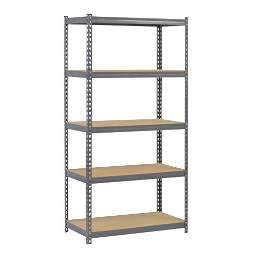 "Edsal CR185P-GY Steel Boltless Rivet Particle Board Shelving, 5 Shelves, 72"" Height x 36"" Width x 18"" Depth, Gray"