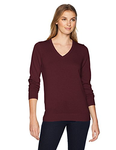 Pullover Sweater Burgundy - Amazon Essentials Women's Lightweight V-Neck Sweater, Burgundy, Large