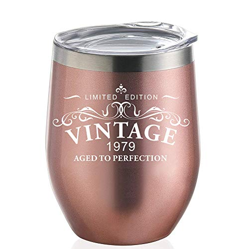 1979 40th Birthday Gifts for Women | 12 oz Rose Gold Tumblers with Lid | Funny Gift Ideas for Her Wife or Mom| Insulated Cups 40 birthday