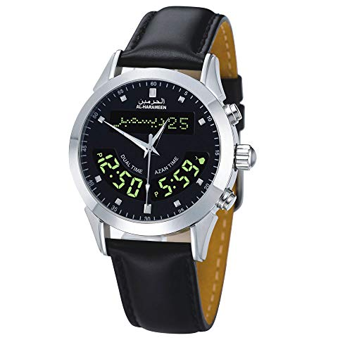 LOLODAY Azan Watch Azan Muslim Prayer Black Leather Strap Wriste Watch Islamic