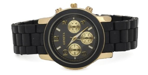 NEW Geneva Watch MK Style Chronograph Look Black Acrylic Closed Band Golden Bezel Medium Size Face