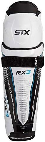 "STX HP SG30 SR 15 WE/BE Ice Hockey Surgeon RX3 Shin Guard, 15"", White/Blue"
