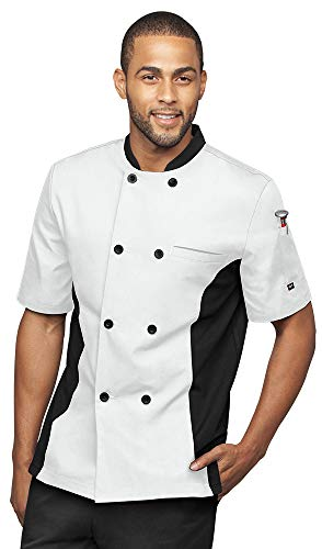 - Men's Short Sleeve Chef Coat Mesh Side Panels (S-3X, 4 Colors) (Medium, White/Black)