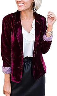 Kirnapci Womens Velvet Blazers Jacket Coat Long Sleeve Draped Button Down Blazer Outwears