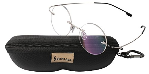 SOOLALA Lightweight Titanium Stainless Round Circle Rimless Reading Glass, RSilver, - Round Rimless Glasses