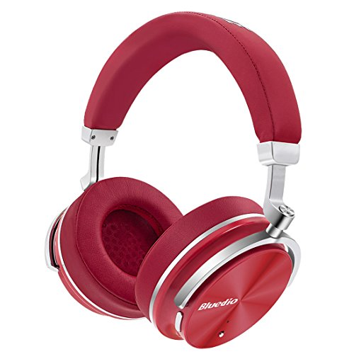 Urvoix Original Bluetooth 4.2 Stereo Active Noise Cancelling Wireless Headphones Portable Bluetooth Over-ear Swiveling Headset with Microphone, Red